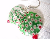 Millefiori Glory - Red and Green Glass Earrings