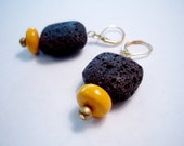 Hot Lava Lovah - Lava Rock and Magnesite Earrings in Yellow and Brown