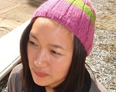 Sunday Sherbet - Knit Wool Beanie in Fuchsia and Green