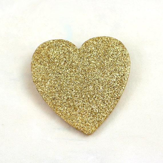 Gold Glitter Heart Pin