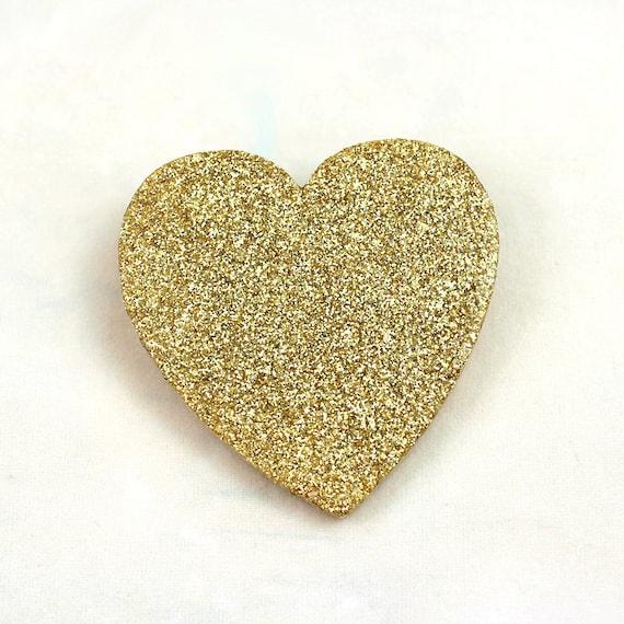 Gold Glitter Heart Pin