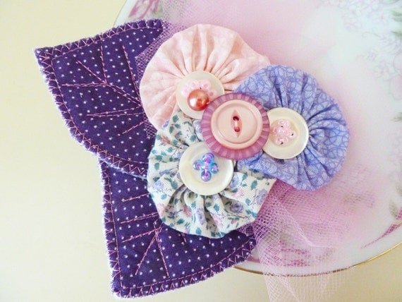 Fabric Flower Brooch, Large Statement Pin, Pink Purple Yo Yo Cluster