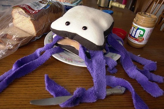 Peanut Butter and JellyFish Sandwich Plush Toy