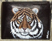 Tiger Wild Cat Custom Painted Leather Men wallet - daniellesoriginals