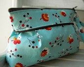 Posie in Turquoise - Square Zipper Pouch with Clip