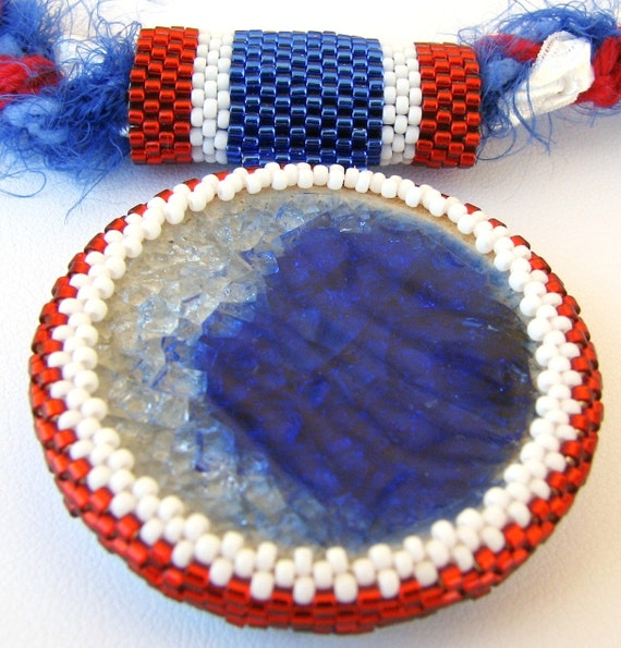 Red White and Blue  Pendant and Necklace (2216) - An Original Sand Fibers Creation