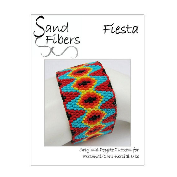 50% OFF - Peyote Pattern - Fiesta Peyote Cuff / Bracelet  - A Sand Fibers For Personal/Commercial Use PDF Pattern