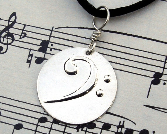 Bass Clef Pendant Necklace - Silver Music Jewelry- Keepsake for Musicians- unisex, men