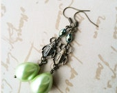 Darling Scarab Green Pearl Coat Dangle Earrings - Fanciful Deluxe - pulpsushi