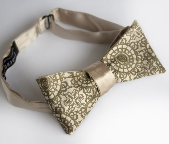 Cottage Lace khaki bow tie. Self-tie, freestyle mens bow tie. Silkscreened antique brass print.