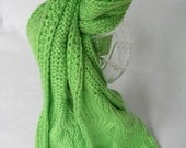 Knit Cabled Fashion Scarf - Green - Gift Idea