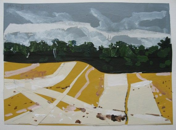 Wheat Harvest, Small Landscape Collage Painting on Paper, Original