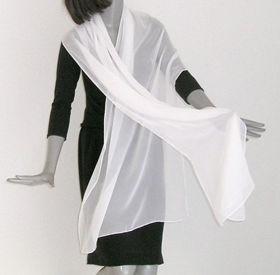 "White Long Shawl Silk Chiffon Wrap, Diamond Light Ivory Wedding, Bridal Evening Stole, 20"" x 83""."