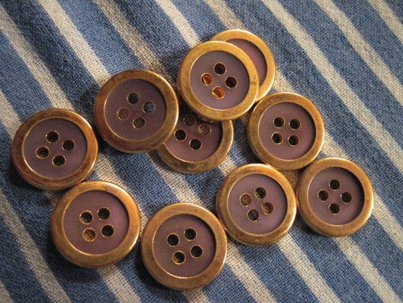 10 lavender and gold vintage buttons
