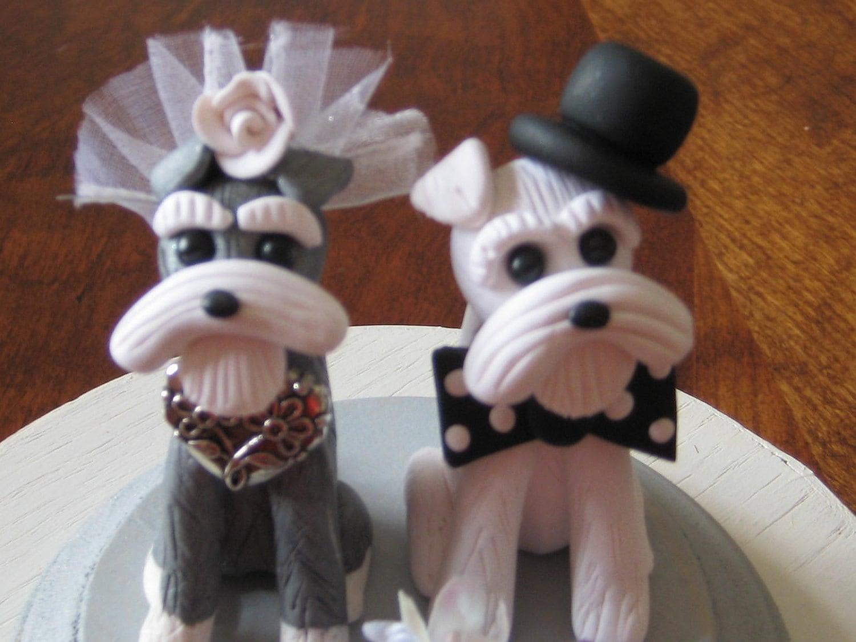Custom Schnauzer Dog Duo Wedding Anniversary Shower Cake