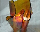 Vase Candle - Amber Cathedral Iridized Slumped Stained Glass Vase - VaseCandle