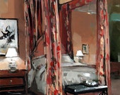 Art Print Floral Interior Curtains Bedroom 9x12 on 11x14 - Four Poster with Floral Curtains by David Lloyd - lloydgallery