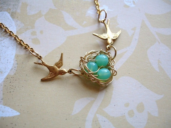 Sale Swallow Green Opal Birds Nest Necklace Bridesmaid