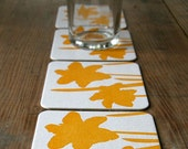 Daffodil - set of 4 letterpress coasters - redbirdink