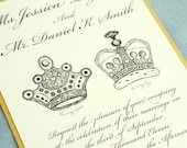 Wedding invitation king and queen crown black white and gold wedding
