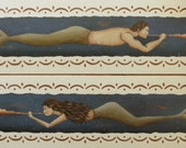 Set of MERMAID and MERMAN Conch Shell Folk Art Prints by Donna Atkins - folkartbydonna
