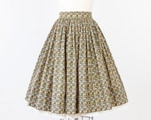 Sage Green Full Skirt with Pink and Yellow Fruit Print - salvagelife