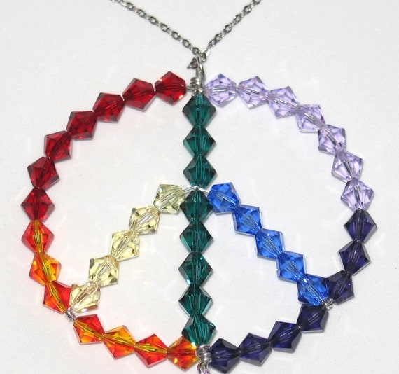 Rainbow Chakra Peace Sign Necklace