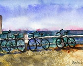 Beach Bikes Wellfleet, Cape Cod watercolor PRINT, sea green, sky blue Wellfleet nautical modern