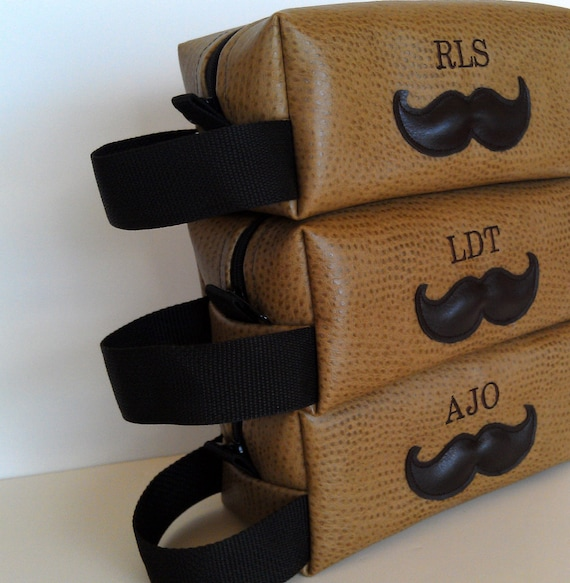 Groomsman Gift Personalized Mens Toiletry Bag Mustache HANDMADE Wedding Shaving Kit Custom Groomsmen Gift Groomsman Gift Felix Street