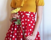 Red and White polka dot Betty circle skirt