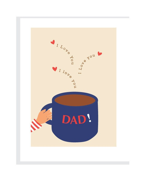 Fathers Day card I love you big blue coffee cup