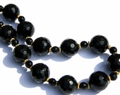 Black, Gold Chunky Necklace, Gemstone, Onyx and Vermeil