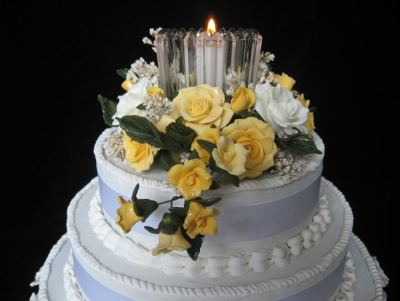 Yellow and White Floral Cake Topper