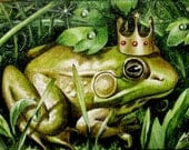 The Frog Prince Art Print by Melody Lea Lamb ACEO - MelodyLeaLamb