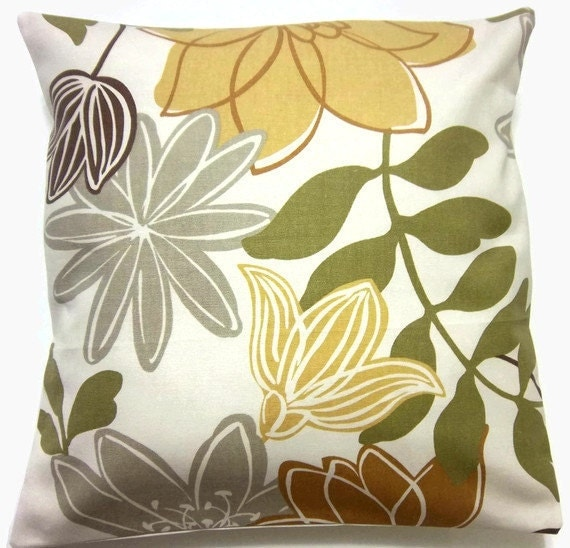 Decorative Pillow Cover Gold Olive Green By Lynnesthisandthat