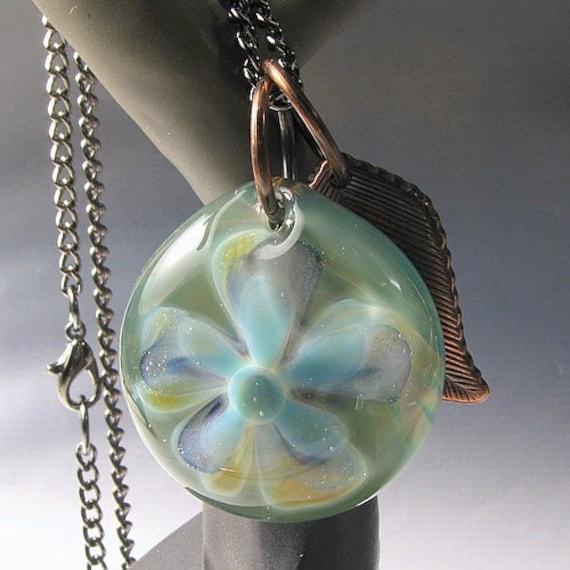 Handmade Boro lampwork flower pendant KimVGlass