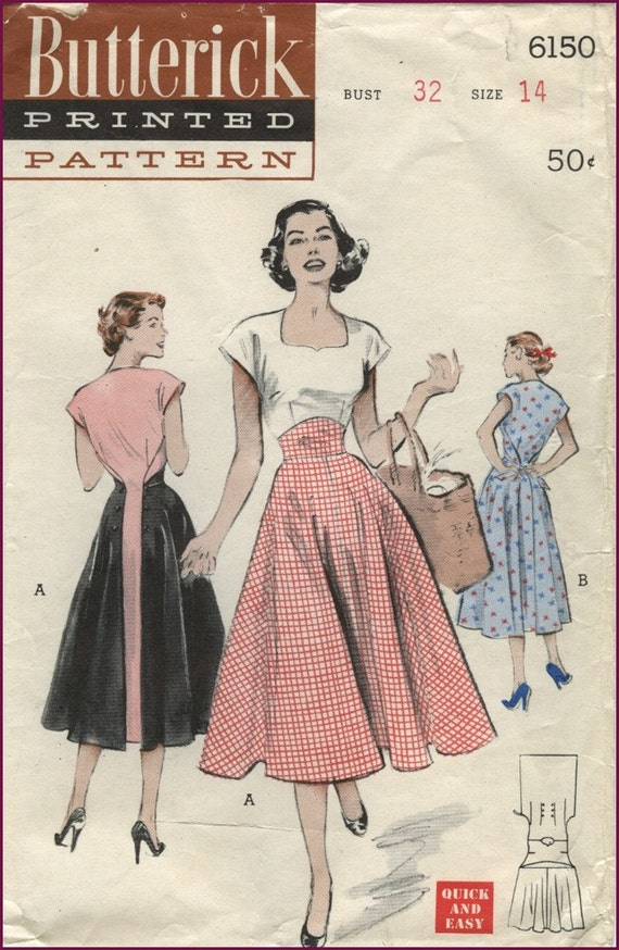 1950s Butterick 6150 the Saturday Morning Dress pattern 32 bust