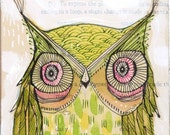 green owl painting, go lightly...watercolor painting, archival and limited edition print, 5 x 10 inch wall art, by cori dantini - corid