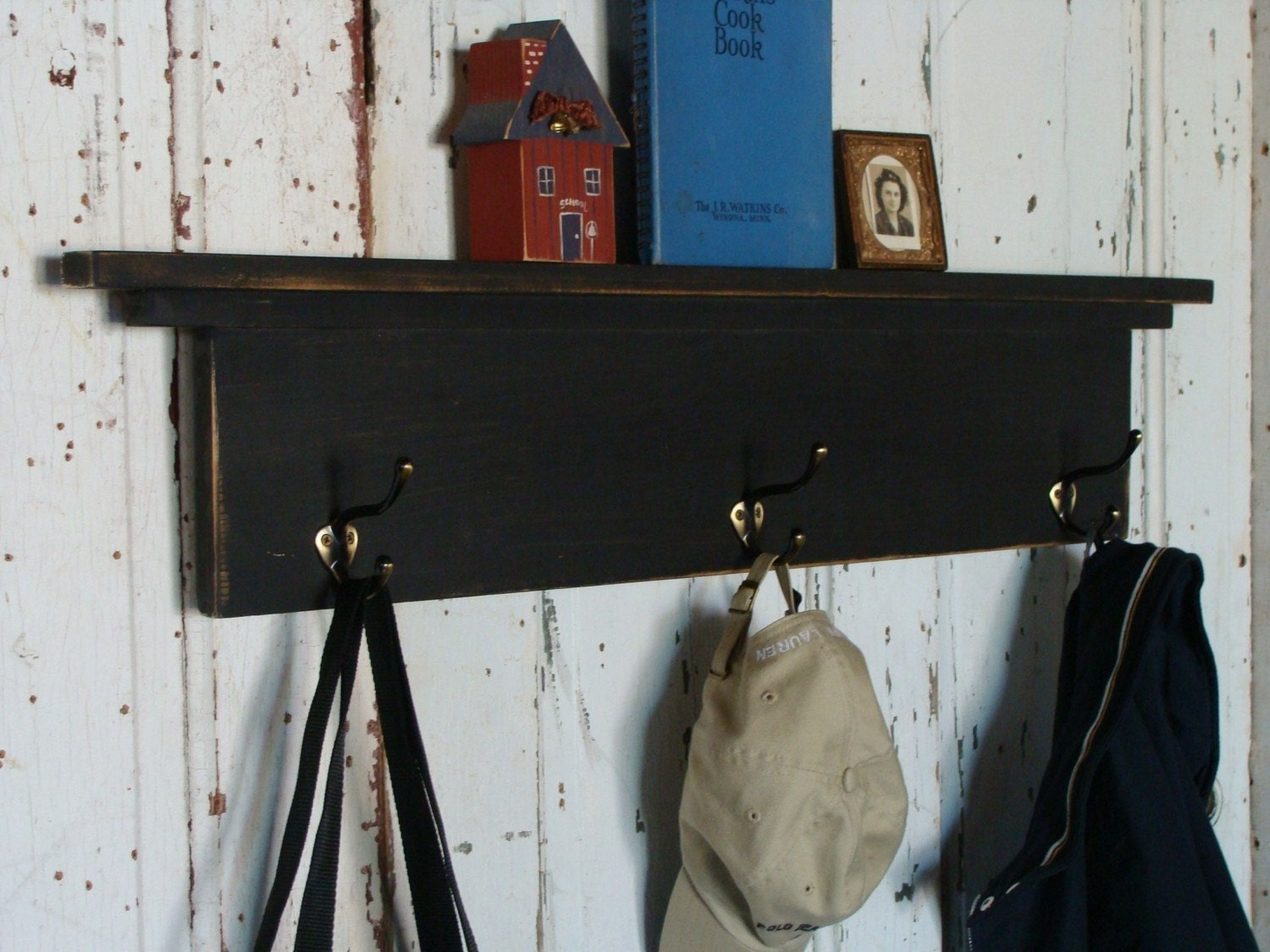 wall shelf with coat hooks entryway