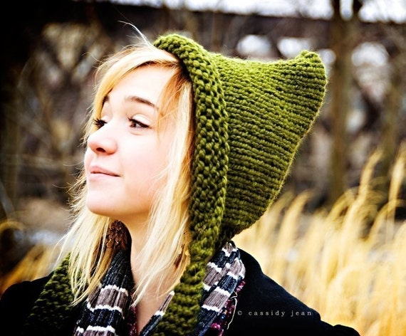 Hand Knit Hat Womens Hat - Pixie Hat, Gnome Hat, Elf Hat, Olive Green - READY TO SHIP - Fall Fashion Autumn Fashion