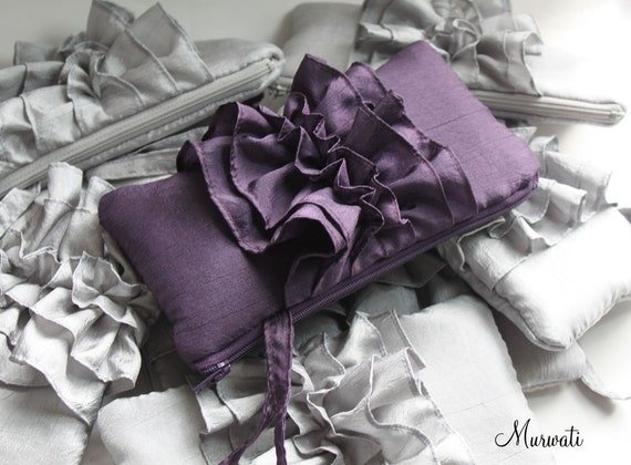 Bridesmaids Clutches-Wedding clutch- SET OF 8 Fairy Tale Ruffle Wristlets-Silver Dark Purple Ivory Black Navy Turquoise Silver and More