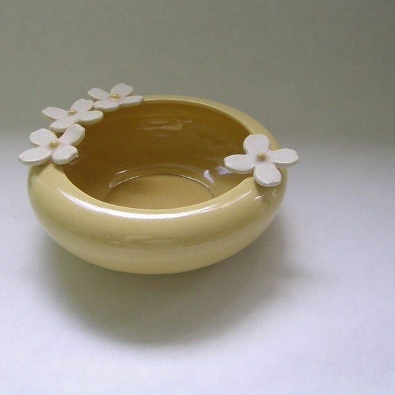 Dogwood Flower Ceramic Bowl in Yellow