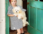 Baby Girls Modern Shift Dress-  Blk/Wht Polka Dot - KaitEmersonDesigns