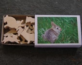 Miniature  Bunny Rabbit Wood Match Box Set - Puzzimals