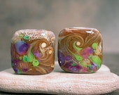 Lampwork Bead Set Pair Nuggets Caramel with Purple Lime Green Opal Yellow DivineSparkDesigns SRA - DivineSparkDesigns