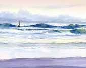 Riding Out the Storm giclee print, waves and surfer - maryellengolden