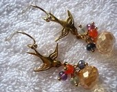 Sweetheart Birds III Earrings Cluster Dangle Chandelier Elegant Princess Glam Glamorous Chic Semi Precious Stomes Champagne Quartz Feminine Autumn Orange Spice One of a Kind Love Romance