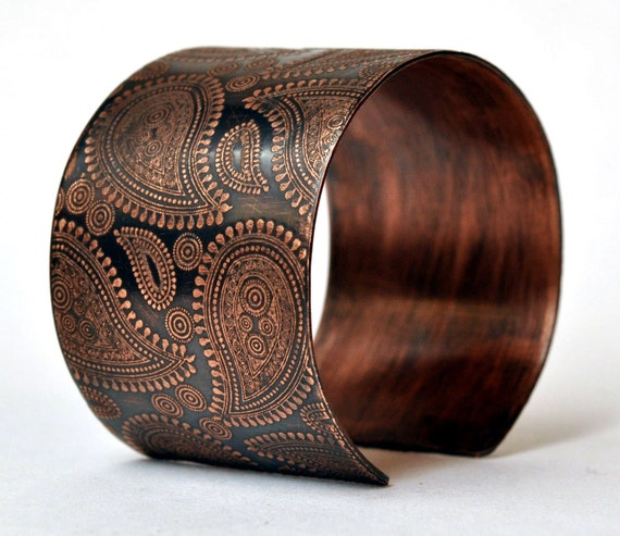 Handmade Copper Bracelet Etched Paisley Cuff