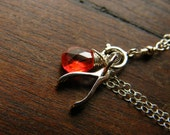 Silver Wishbone Pendant with red Zircon - Lily Limited Edition Custom Birthstone Sterling Silver Bracelet - LoellaMedina