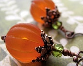 Orange Pumpkin Earrings, Vintage Style Halloween Jewelry, Antiqued Copper, Thanksgiving, Gift for Gardener, Pumpkin Jewelry - ShySiren